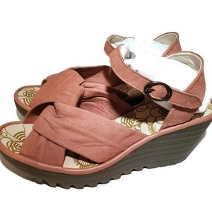 Fly London leather ankle strap wedge sandals rose
